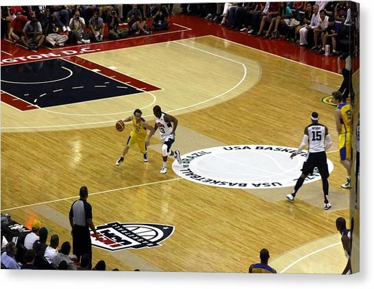 Basketball Teams Canvas Print - Olympic Defense by Steven Hanson