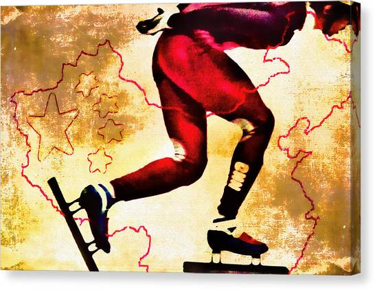 Speed Skating Canvas Print - Olympic Hope by Kathy Bassett