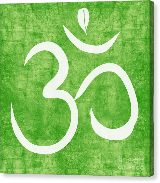 Yoga Canvas Print - Om Green by Linda Woods