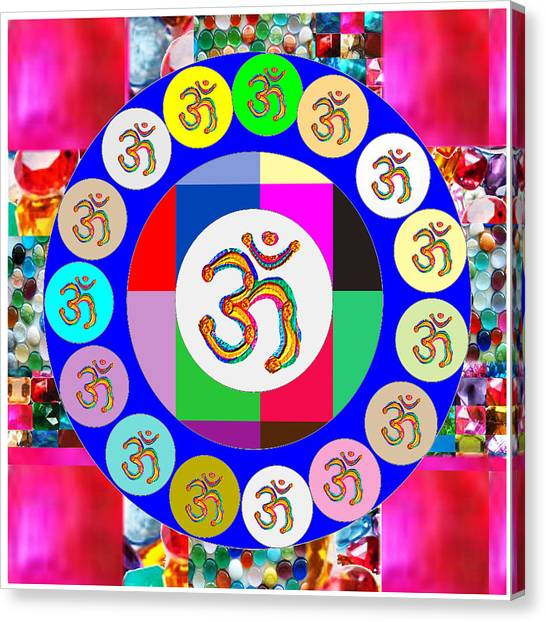 Om Mantra Dedication  Devotion Symbol Assembly By Artist N Reiki Healing Master Navinjoshi Canvas Print