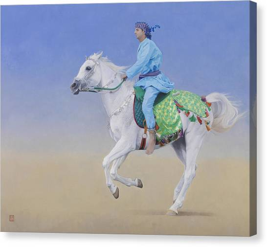 Arabian Desert Canvas Print - Oman Cavalryman by Emma Kennaway