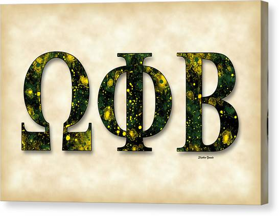 Suny At Albany University At Albany Canvas Print - Omega Phi Beta - Parchment by Stephen Younts