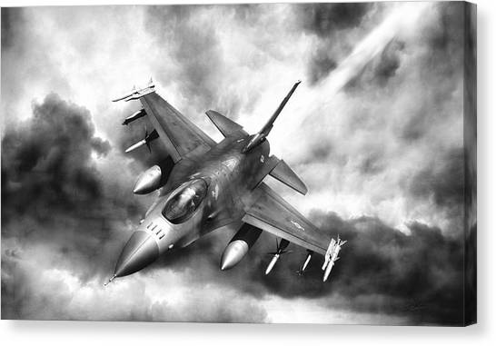 F16 Canvas Print - Ominous Falcon by Peter Chilelli