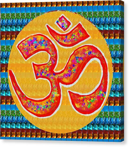 Ommantra Om Mantra Chant Yoga Meditation Spiritual Religion Sound  Navinjoshi  Rights Managed Images Canvas Print