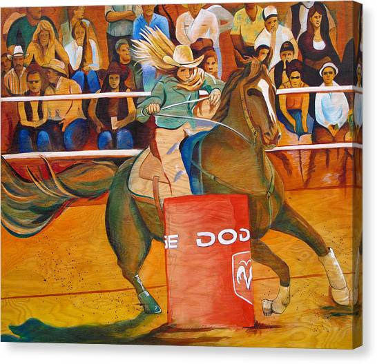 Barrel Racing Canvas Print - On A Dime by Joshua Morton