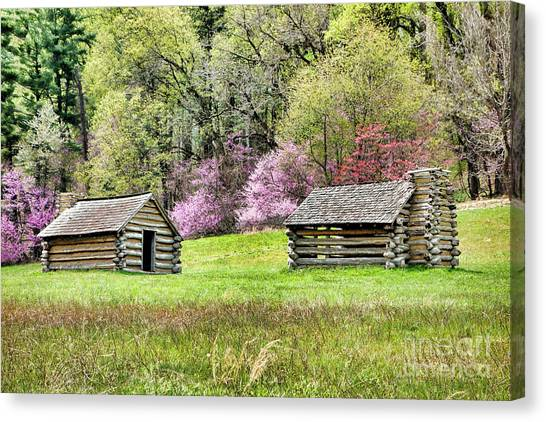 Log Cabin Canvas Print - On A Hill At Valley Forge by Olivier Le Queinec