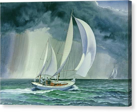 Sailboats Canvas Print - On A Reach by Paul Krapf