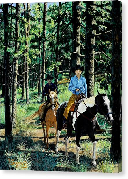 Colorado Cowgirl Canvas Print - On A Summer Morning by Timithy L Gordon