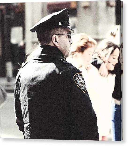 Law Enforcement Canvas Print - On Duty... #nyc #newyork #newyorkcity by Kurt Von Weisenstein