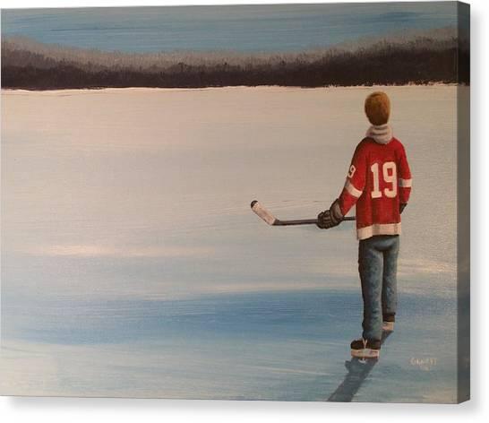 Steve Yzerman Canvas Print - On Frozen Pond -  Stevie by Ron  Genest