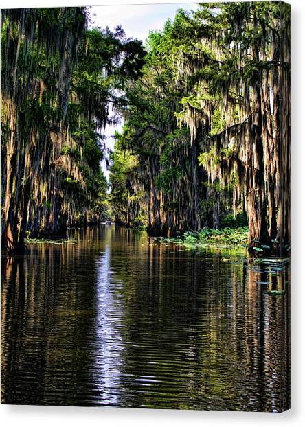 On Golden Canal Canvas Print