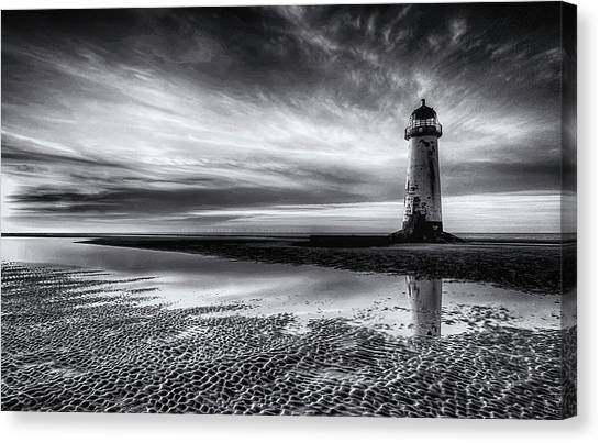 Low Tide Canvas Print - On Talacre Beach by John Elfed Roberts