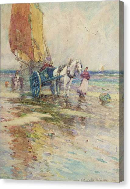 Carts Canvas Print - On The Beach  by Oswald Garside