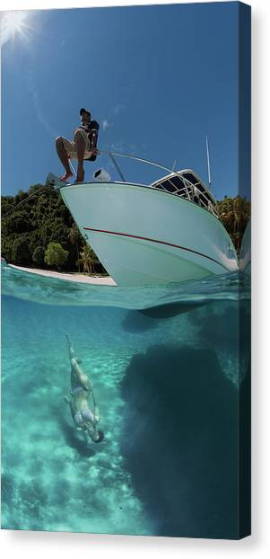Fiji Canvas Print - On The Boat And Under by Andrey Narchuk
