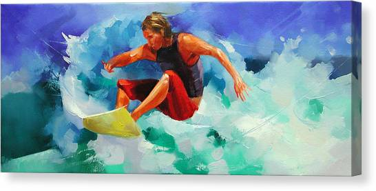 Snowboarding Canvas Print - On The Crest Of A Wave. by Alexey Shalaev