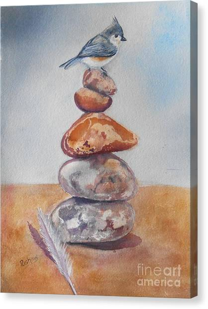 Titmouse Canvas Print - On The Edge by Patricia Pushaw