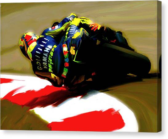 On The Edge Vi Valentino Rossi Canvas Print