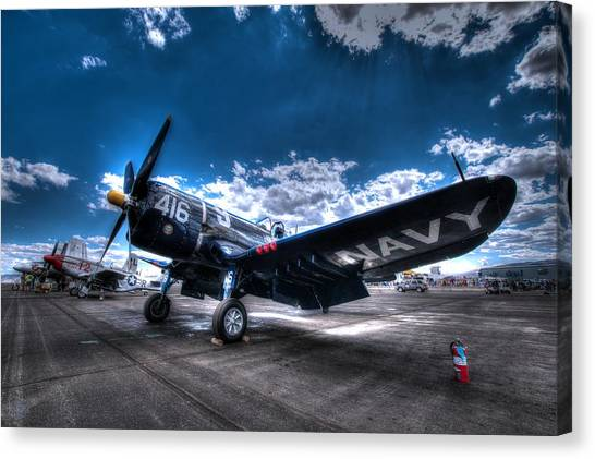 On The Flight Line.  F-4u Corsair At Reno Air Races Canvas Print
