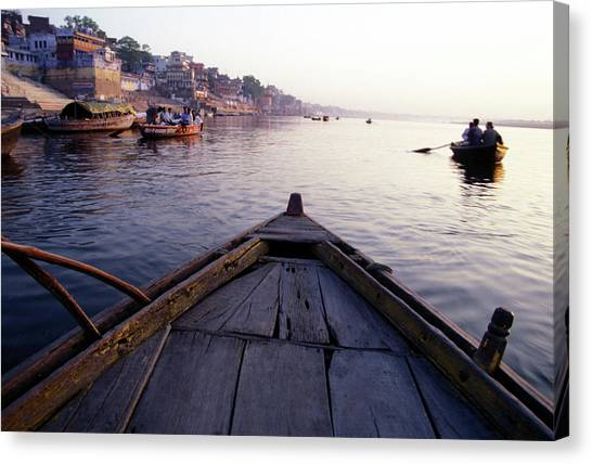 Ganges Canvas Print - On The Ganges River, Varanasi, India by Scott Warren