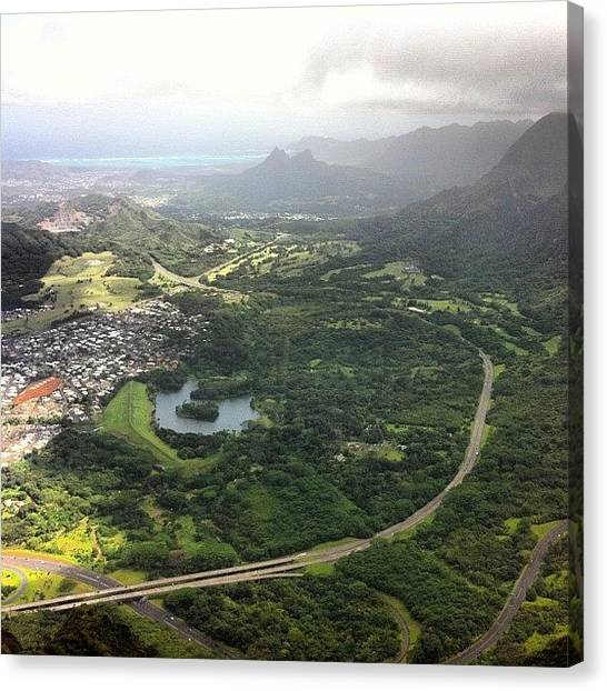 Hawaii Canvas Print - On The Koolau Summit Overlooking by Brian Governale