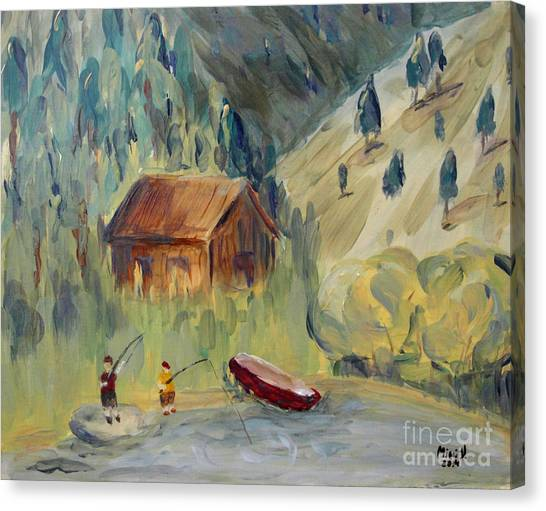 Canvas Print featuring the painting On The Lake by Maria Langgle