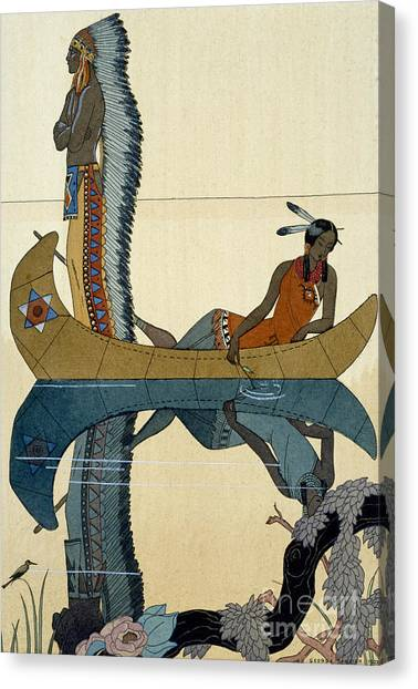 Indian Canvas Print - On The Missouri by Georges Barbier