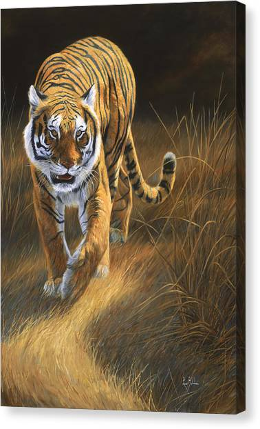 Tiger Canvas Print - On The Move by Lucie Bilodeau