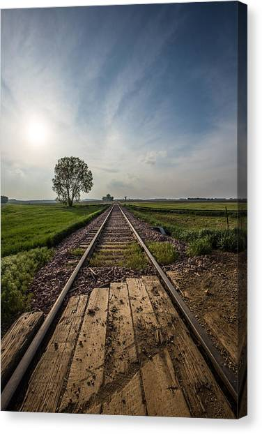South Dakota Canvas Print - On The Right Track by Aaron J Groen