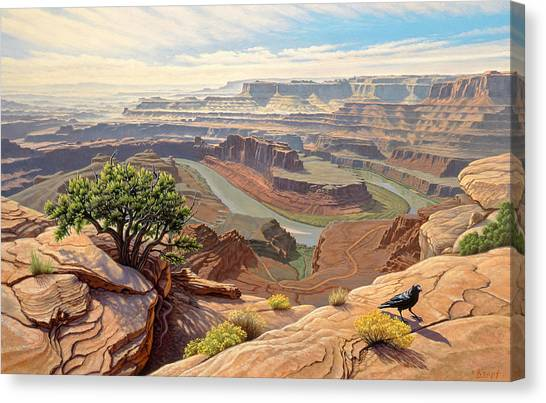Ravens Canvas Print - On The Rim-dead Horse Point by Paul Krapf