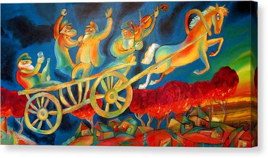 Orthodox Art Canvas Print - On The Road To Rebbe by Leon Zernitsky