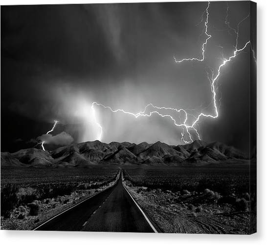 Thunderstorms Canvas Print - On The Road With The Thunder Gods by Yvette Depaepe