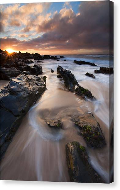 Beach Sunrises Canvas Print - On The Rocks by Mike  Dawson