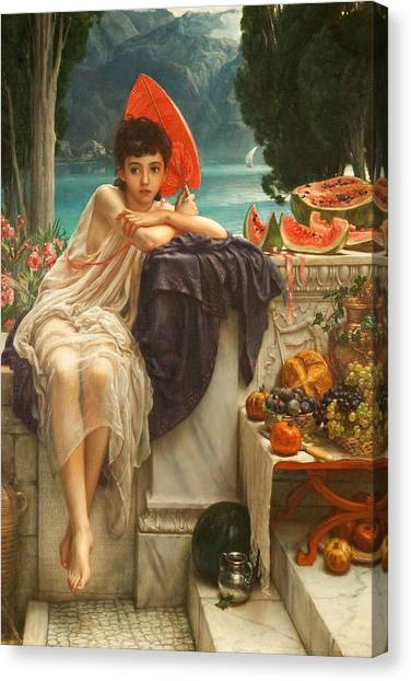 Watermelons Canvas Print - On The Temple Steps, 1889 by Sir Edward John Poynter