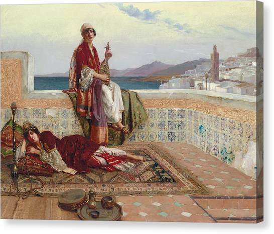 Stringed Instruments Canvas Print - On The Terrace Tangiers by Rudolphe Ernst