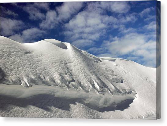 Freeriding Canvas Print - On The Top Of The World Snow And Sky. Snowbasin Mountainutah by Anton Oparin