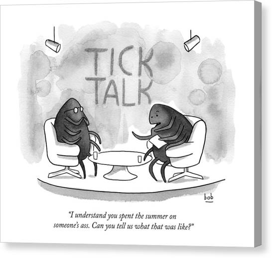 Ticks Canvas Print - On Tick Interviews Another On A Talk Show Called by Bob Eckstein