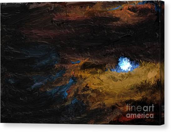 Once In A Blue Moon Canvas Print by Nancy TeWinkel Lauren