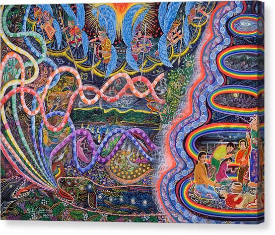 Canvas Print featuring the painting Ondas De La Ayahuasca by Pablo Amaringo