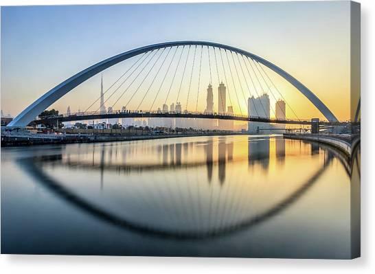 Dubai Skyline Canvas Print - One Arch Fits All! by Mohammed Shamaa