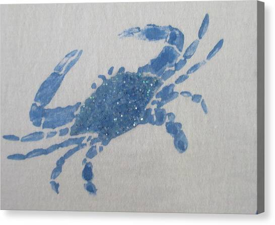 One Blue Crab On Sand Canvas Print