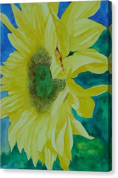 One Bright Sunflower Colorful Original Art Floral Flowers Artist K. Joann Russell Decor Art  Canvas Print