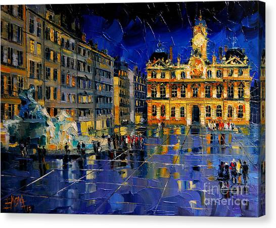 Facade Canvas Print - One Evening In Terreaux Square Lyon by Mona Edulesco
