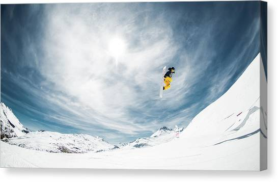 Snowboarding Canvas Print - One Fine Method Grab... by Eric Verbiest