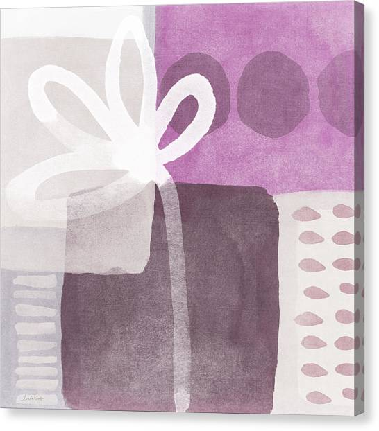Purple Canvas Print - One Flower- Contemporary Painting by Linda Woods