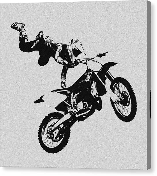 Dirt Bikes Canvas Print - One Hand Show Off by David Lee Thompson