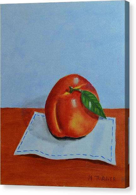 One Leaf Peach Canvas Print
