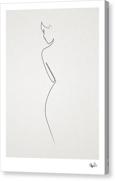 Abstract Art Canvas Print - One Line Nude by Quibe Sarl