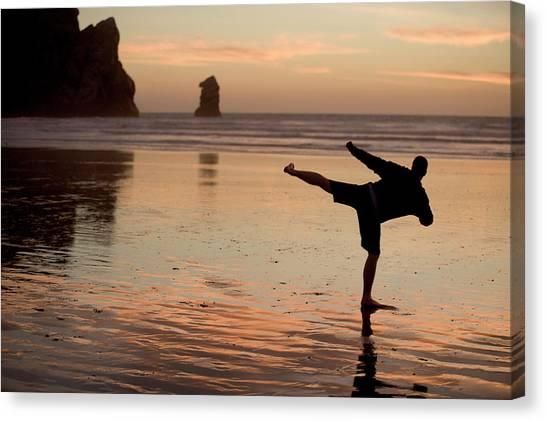 Taekwondo Canvas Print - One Mid Adult Man Practices Taekwondo by Jonathan Kingston