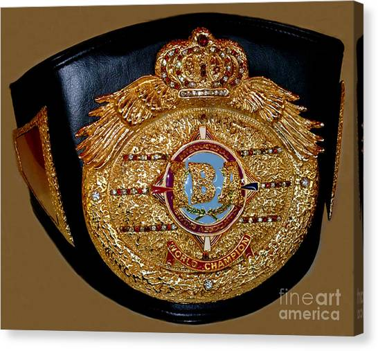 Manny Pacquiao Canvas Print - One Of Ana Julaton's World Championship Boxing Belts by Jim Fitzpatrick