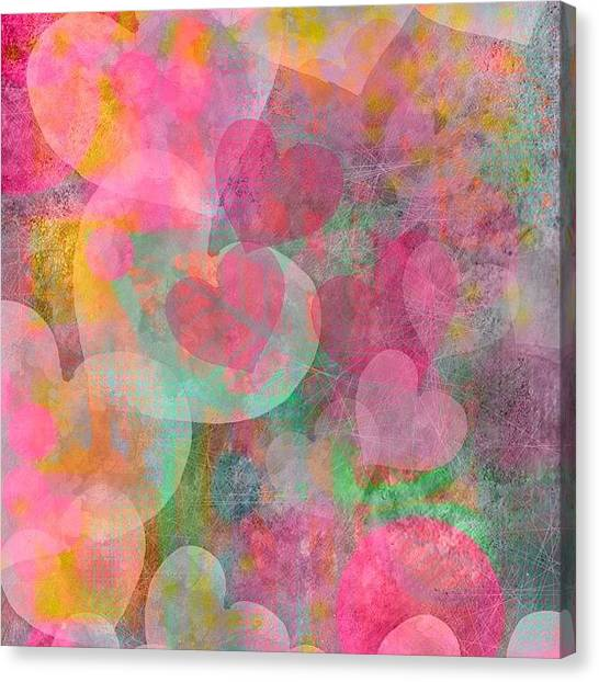 Hearts Canvas Print - One Of My New Heart Papers #hearts by Robin Mead